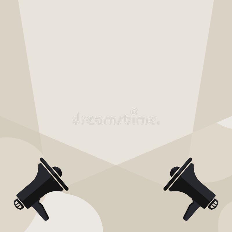 Lege Lichtstralen die uit omhoog uit Twee Megafoons komen Megafoons Producerend Dubbele Schijnwerpers die in doorkruisen royalty-vrije illustratie