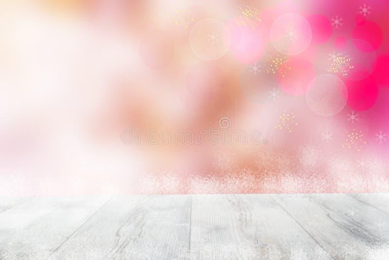 Lege lijstbovenkant of houten vloer en onduidelijk beeld abstracte Kerstmis van bac royalty-vrije stock foto's