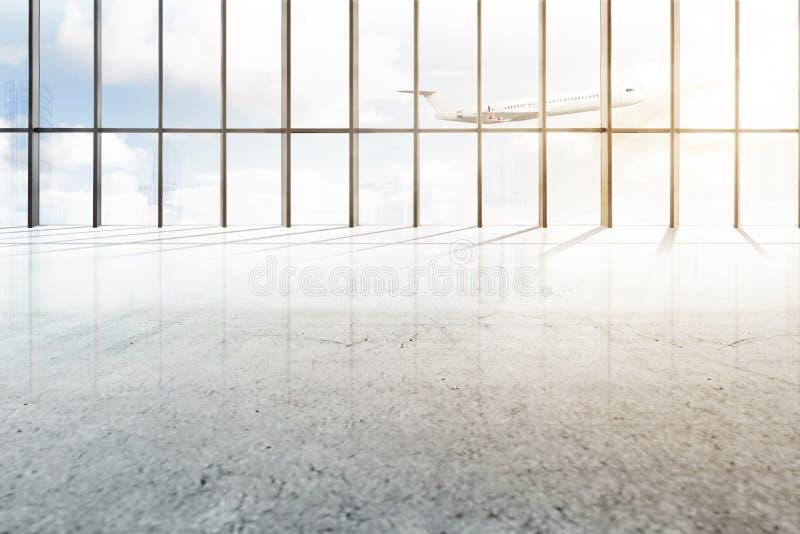 Lege luchthavenzaal met venster van glas en vliegend vliegtuig royalty-vrije stock afbeeldingen