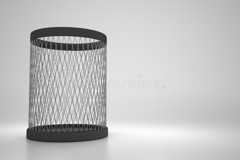 Lege metaal kringloopbak op grijze achtergrond stock illustratie