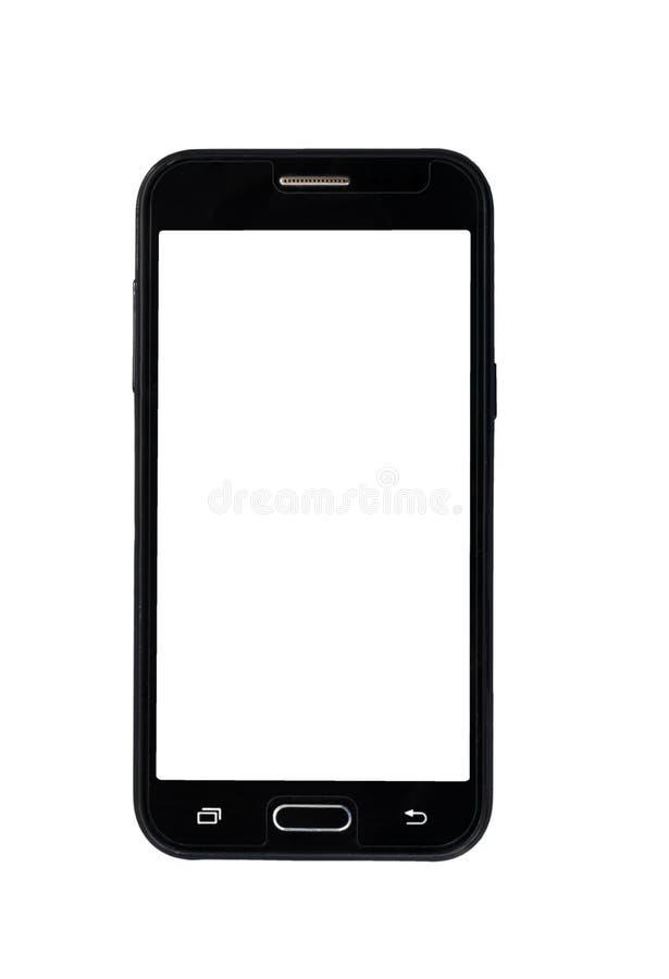 Lege mobiele slimme telefoon die op witte achtergrond met het knippen van weg wordt geïsoleerd stock fotografie