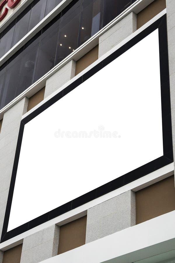 Lege model openlucht reclame met exemplaarruimte op de muur stock afbeeldingen