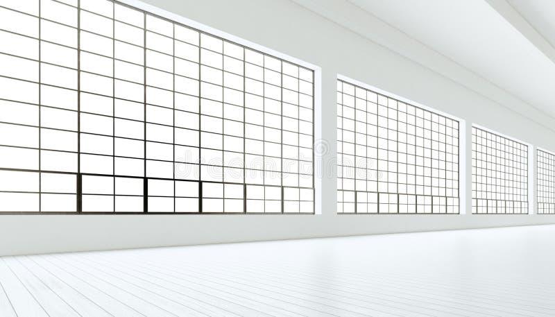Lege moderne industriële ruimte met reusachtige panoramische vensters, geschilderde witte houten vloer, blinde muren het 3d terug royalty-vrije illustratie