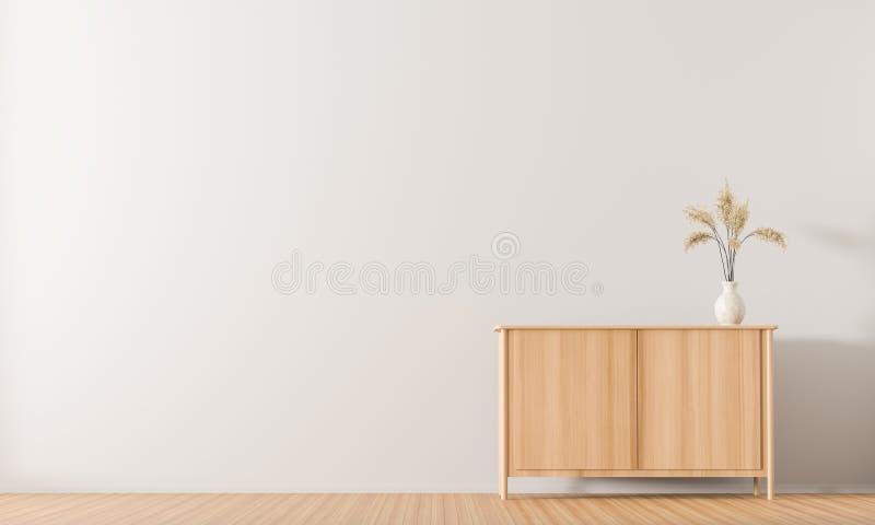 Lege muur in Skandinavisch stijlbinnenland met houten lade Minimalistisch binnenlands ontwerp 3D Illustratie stock illustratie