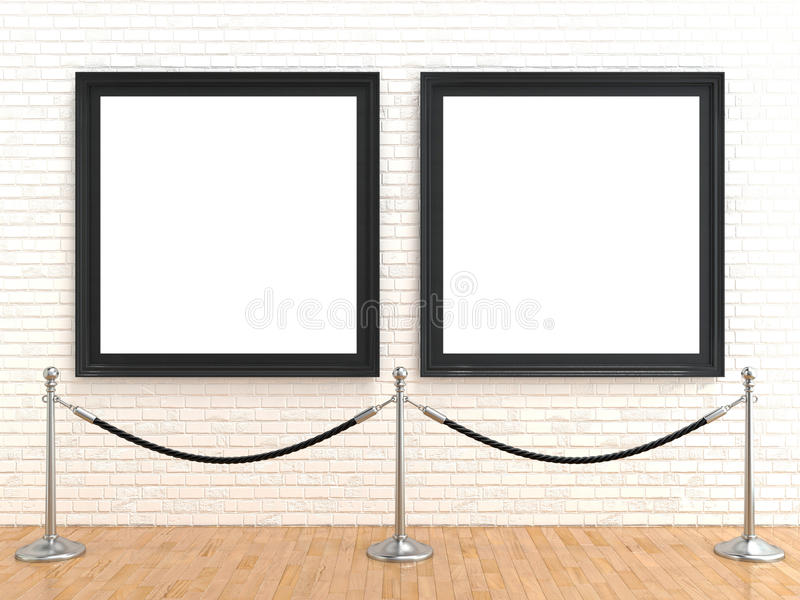 Lege omlijsting twee op bakstenen muur, met de barrières van de tribunekabel, het 3D teruggeven stock illustratie