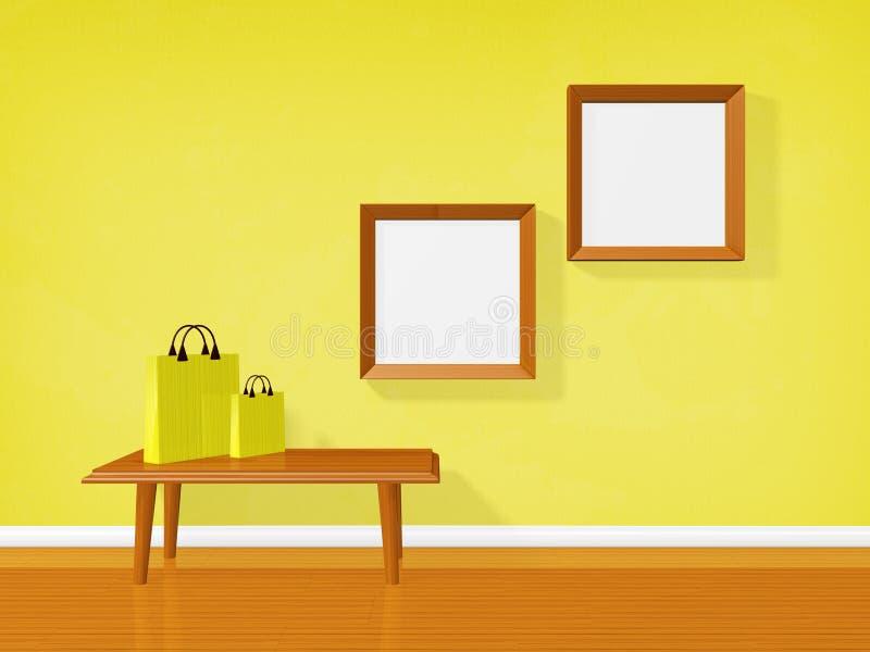 Lege Omlijstingen op Muur en het Winkelen Zakken vector illustratie