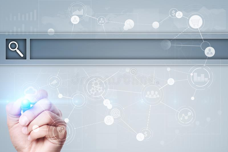 Lege Onderzoeksbar Website, URL Zaken, Internet en technologieconcept royalty-vrije stock afbeeldingen