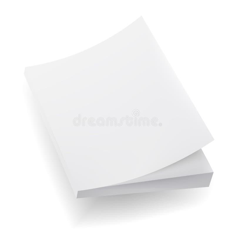 Lege Onechte Omhooggaande Dekking van Notitieboekje, Tijdschrift, Boek, Boekje, Brochure Illustratie op witte achtergrond Malplaa vector illustratie