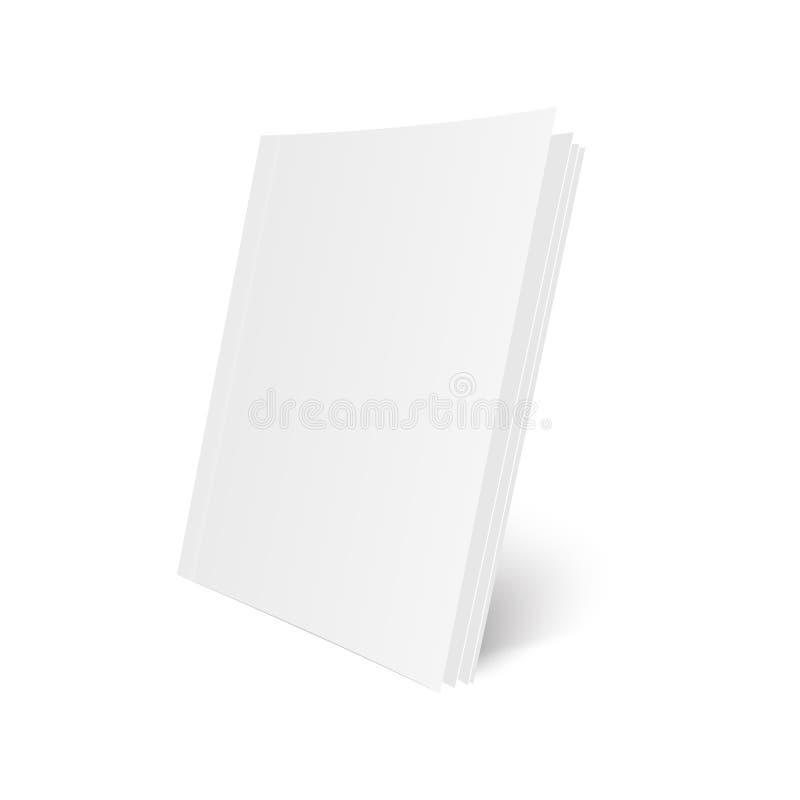 Lege Onechte Omhooggaande dekking van tijdschrift, boek, boekje, brochure Illustratie die op witte achtergrond wordt geïsoleerd=  royalty-vrije illustratie