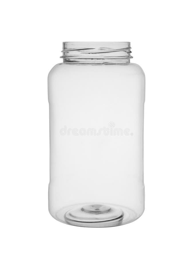 Lege open fles van doorzichtig plastic geïsoleerd op een witte achtergrond stock fotografie