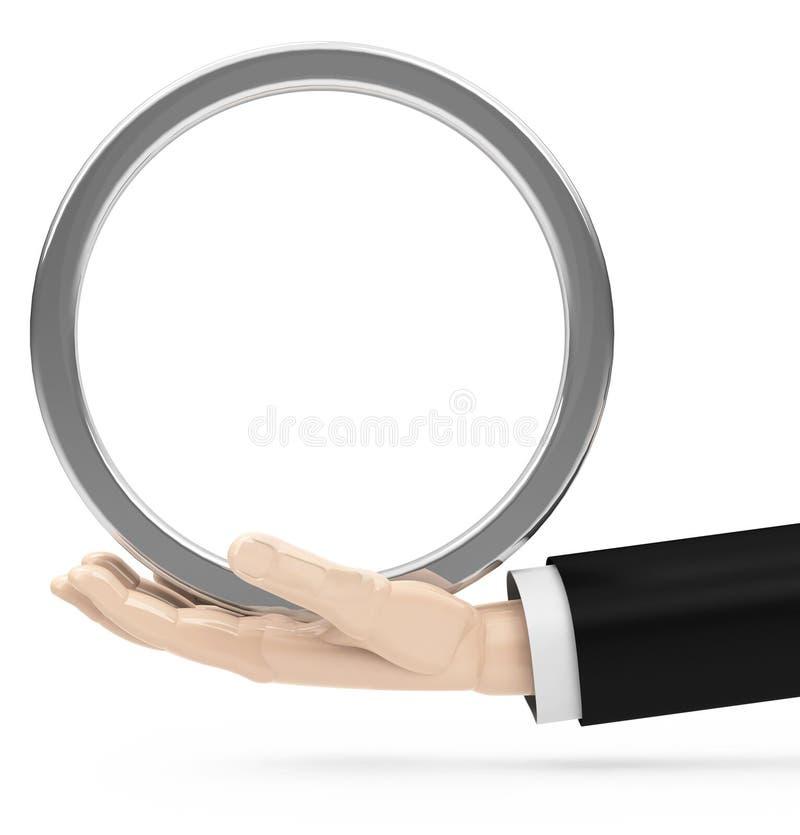 Lege oppervlakte op een bedrijfsmensen` s hand stock foto