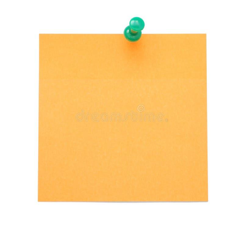 Lege oranje post-itnota royalty-vrije stock foto's