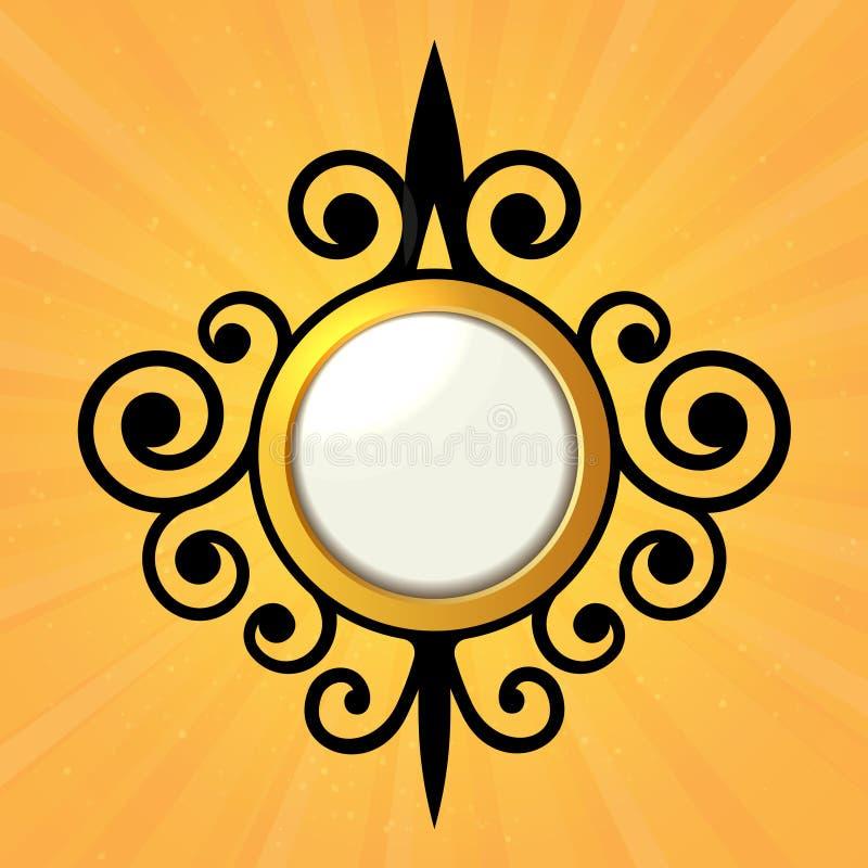 Lege Oranje Sticker met Gekrulde Grens. Vector stock illustratie