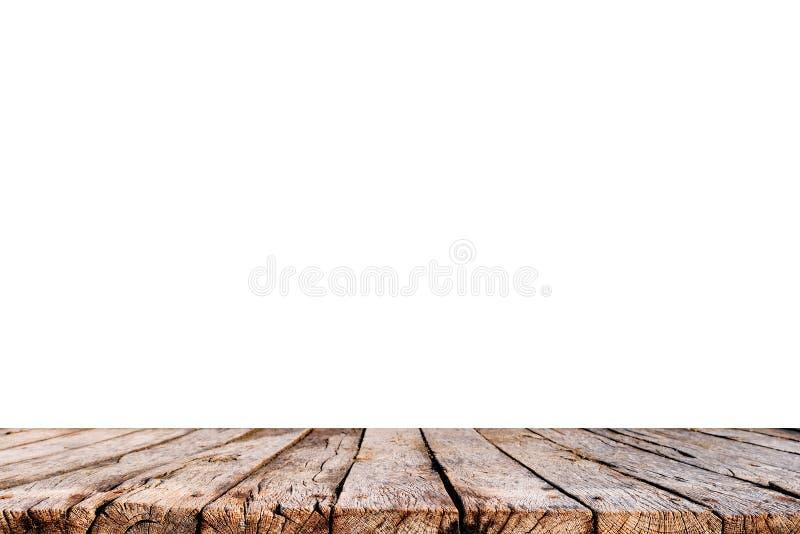 Lege oude houten die lijstbovenkant op witte achtergrond wordt geïsoleerd royalty-vrije stock afbeelding