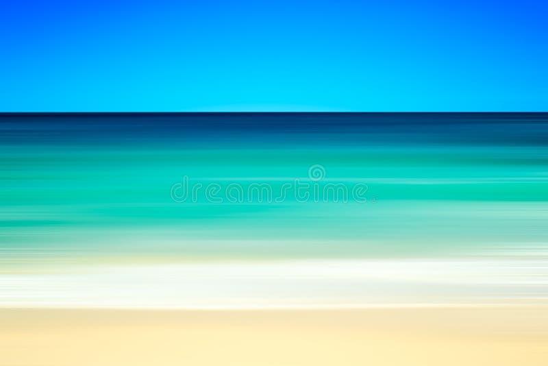 Lege overzeese en strandachtergrond met exemplaar ruimte, Lange blootstelling, de abstracte achtergrond van de onduidelijk beeldm stock foto's