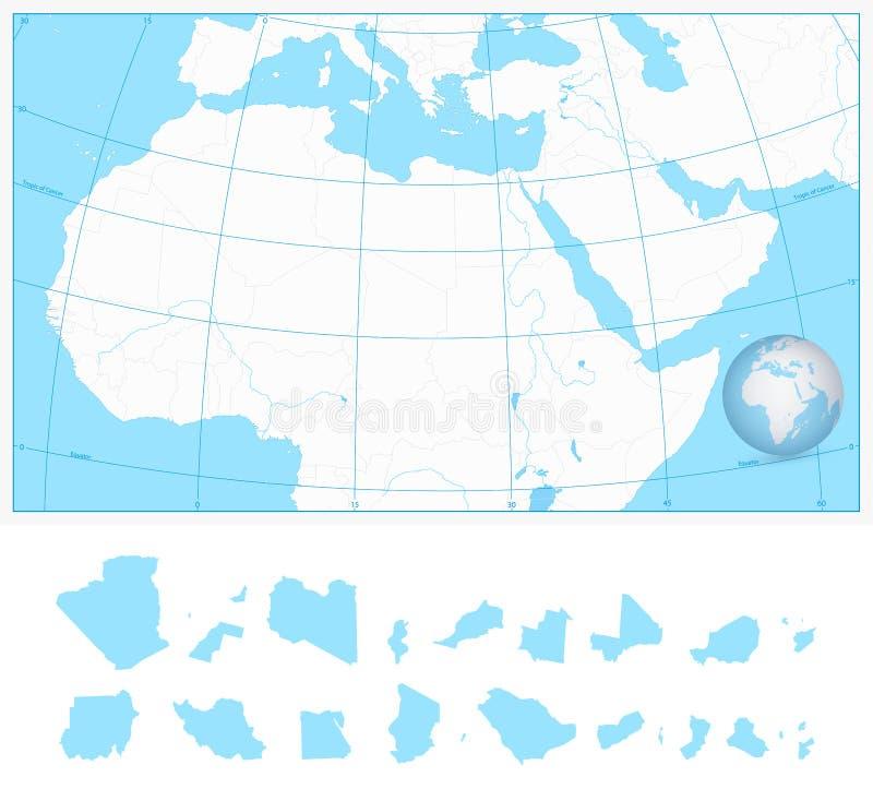 Lege overzichtskaart van Noordelijk Afrika en het Midden-Oosten stock illustratie