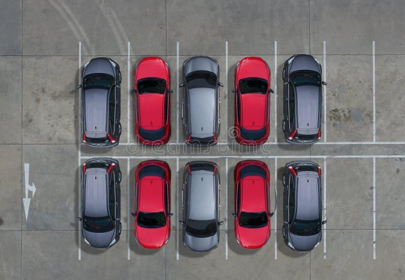 Lege parkeerterreinen, luchtmening royalty-vrije stock afbeelding