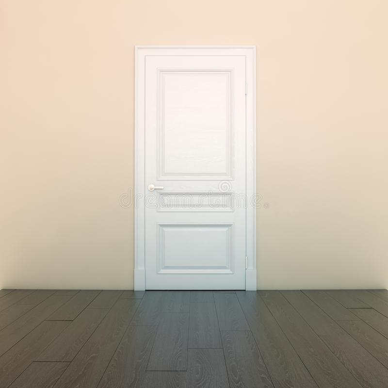 Lege Perzik Binnenlandse Zaal met Witte Deur royalty-vrije stock afbeelding