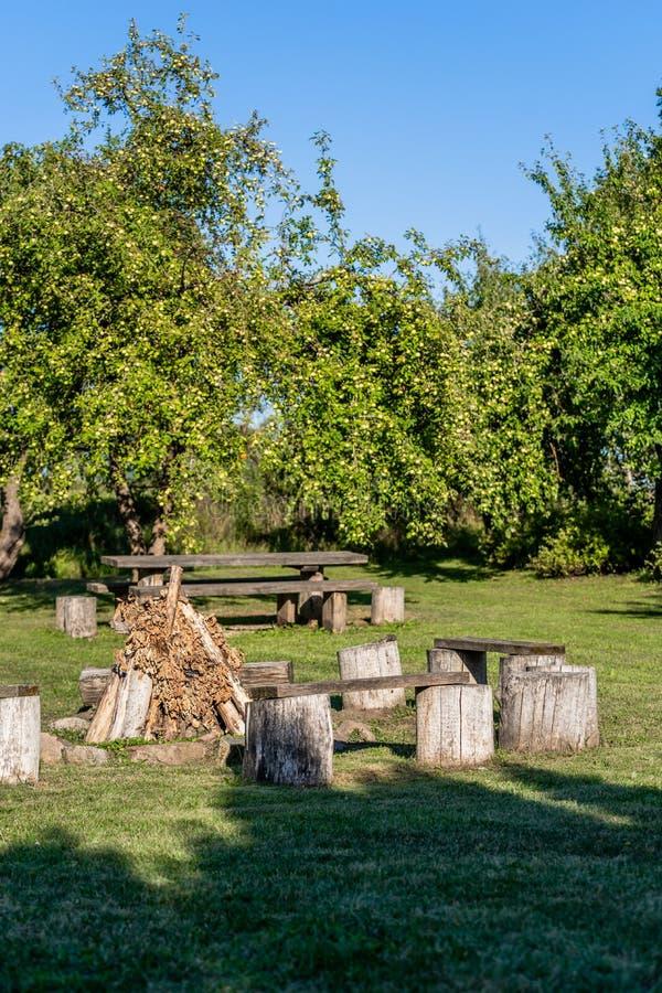Lege Picknickplaats in de Tuin met Open haard stock foto's
