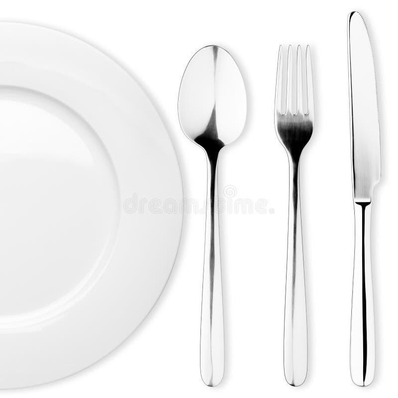 Lege plaat, Lepel, vork, mes, het knippen weg royalty-vrije stock foto's