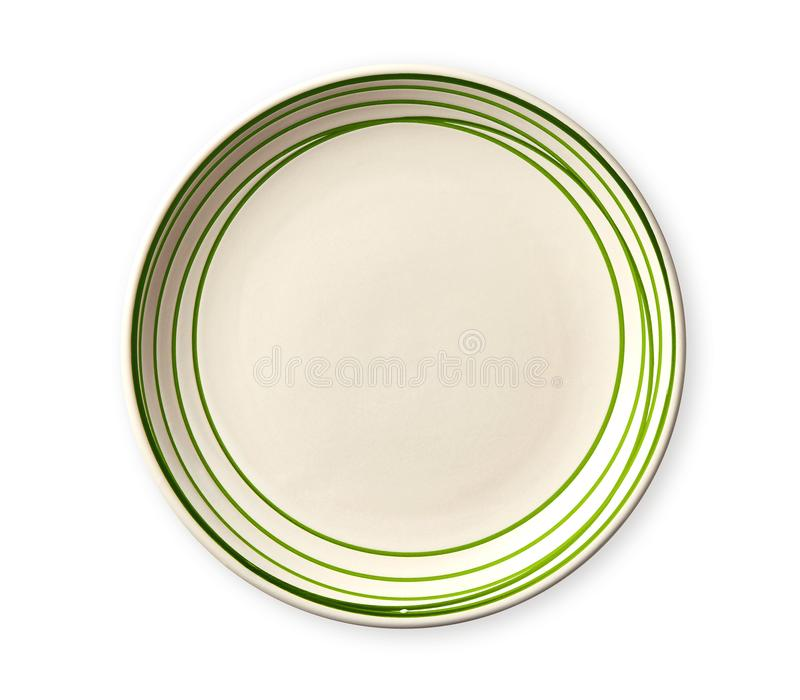 Lege plaat met groene patroonrand, Ceramische plaat met spiraalvormig die patroon in waterverfstijlen, op witte achtergrond worde royalty-vrije stock foto