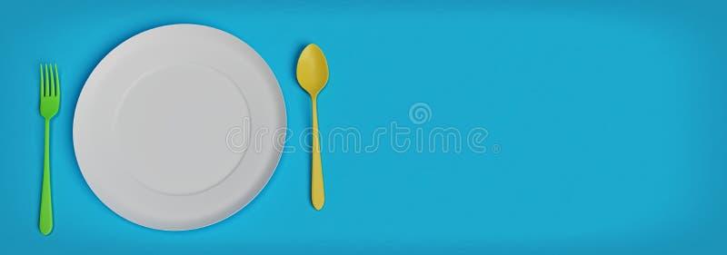 Lege plaat met lepel en vork het 3d teruggeven stock illustratie
