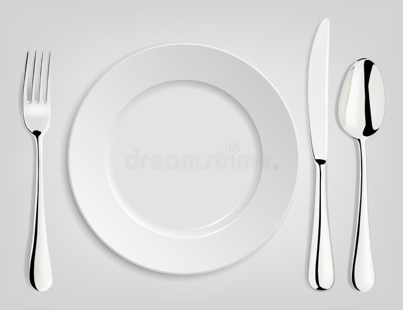Lege plaat met lepel, mes en vork vector illustratie