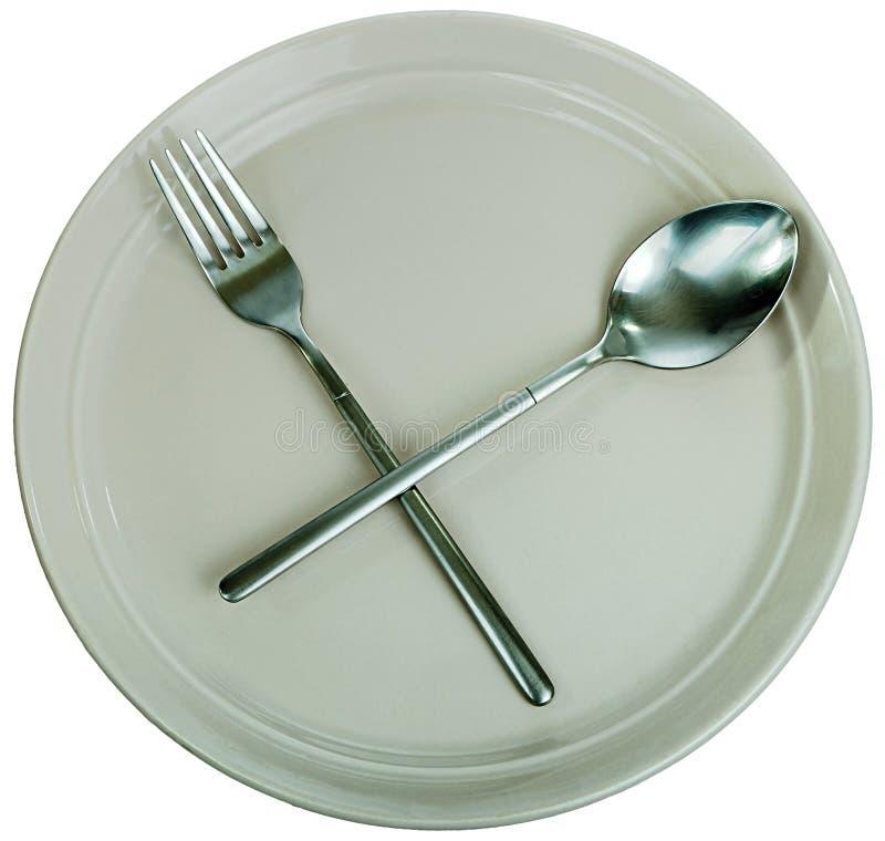 Lege plaat, vork en lepel stock foto