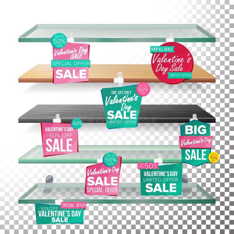 Lege Planken, de Dagverkoop die van Valentine s Wobblers-Vector adverteren KLEINHANDELSconcept De grote Banner van de Verkoop 14  royalty-vrije illustratie