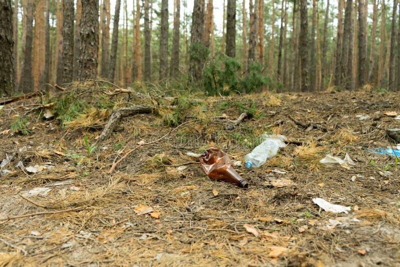 Lege plastic die fles in de vorm van huisvuil in het bos door de mens wordt geworpen Het concept milieuvervuiling door mensenleve royalty-vrije stock afbeeldingen