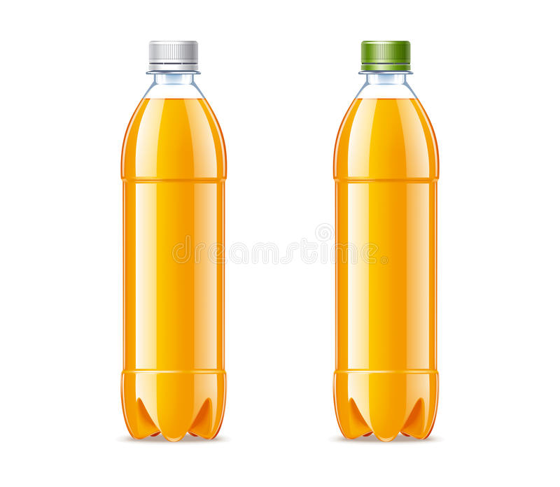 Lege plastic flessen 0,5L met jus d'orange royalty-vrije illustratie