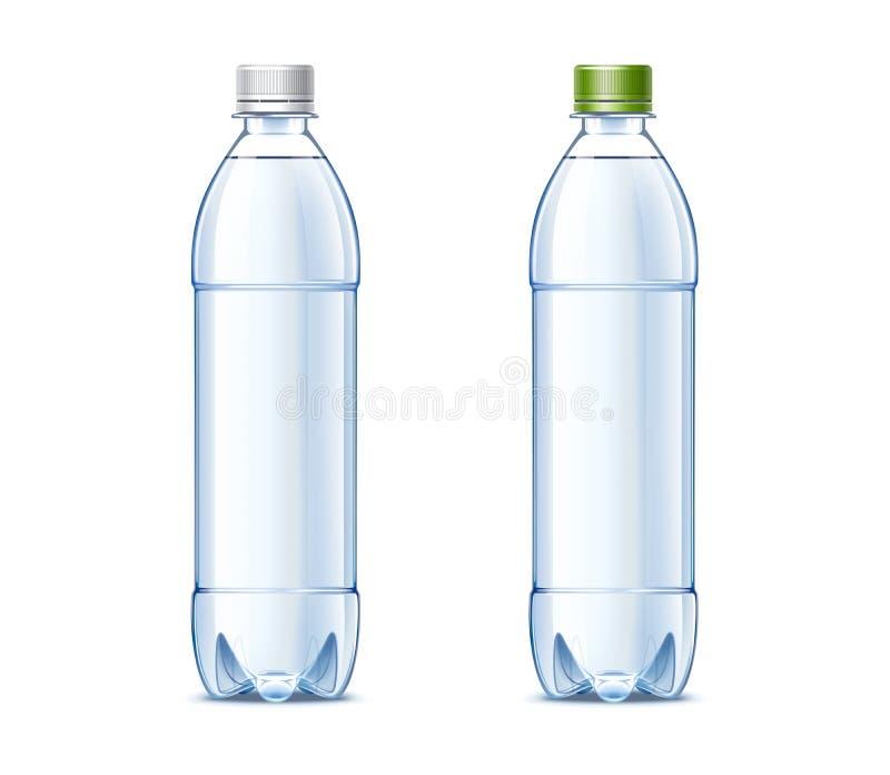 Lege plastic flessen van 0 5 liter met drinkwater royalty-vrije illustratie