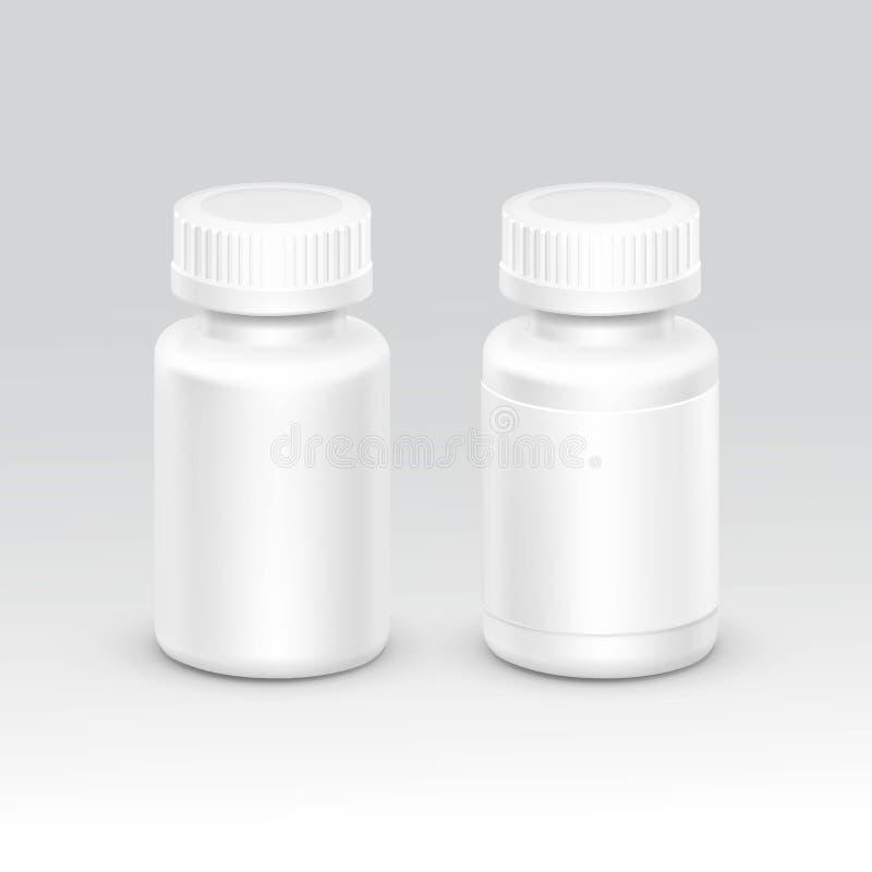 Lege Plastic Verpakkende die Fles met GLB voor Pillenvector op Achtergrond wordt geïsoleerd vector illustratie
