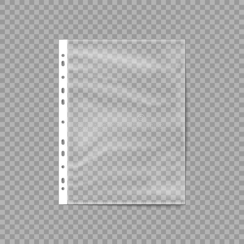 Lege plastic zak Geslagen zak Bedrijfsdossier Bladbeschermer op een transparante achtergrond wordt geïsoleerd die Vector illustra vector illustratie