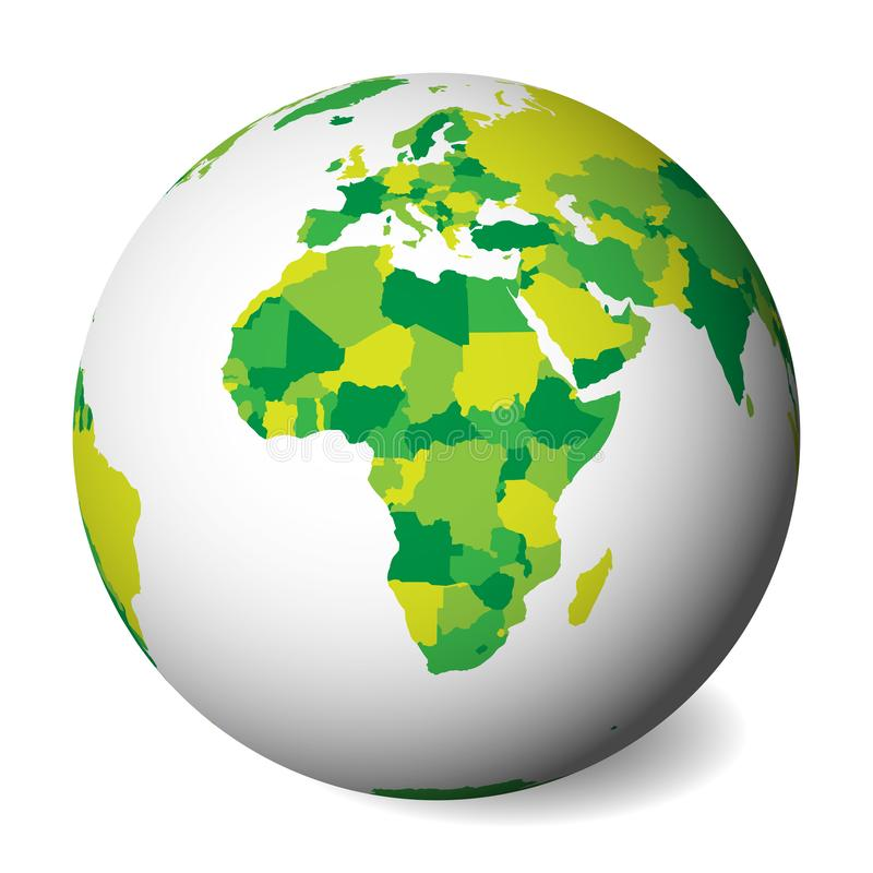 Lege politieke kaart van Afrika 3D Aardebol met groene kaart Vector illustratie royalty-vrije illustratie