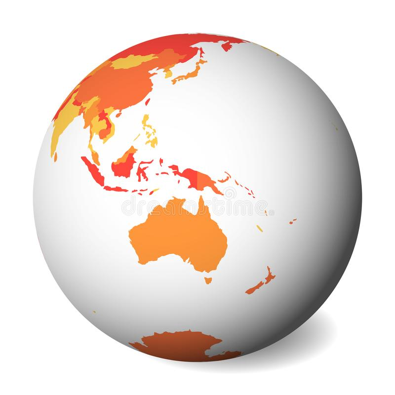Lege politieke kaart van Australië 3D Aardebol met oranje kaart Vector illustratie vector illustratie
