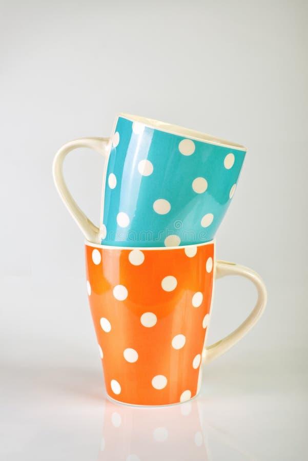 Lege Polka Dot Mugs royalty-vrije stock foto