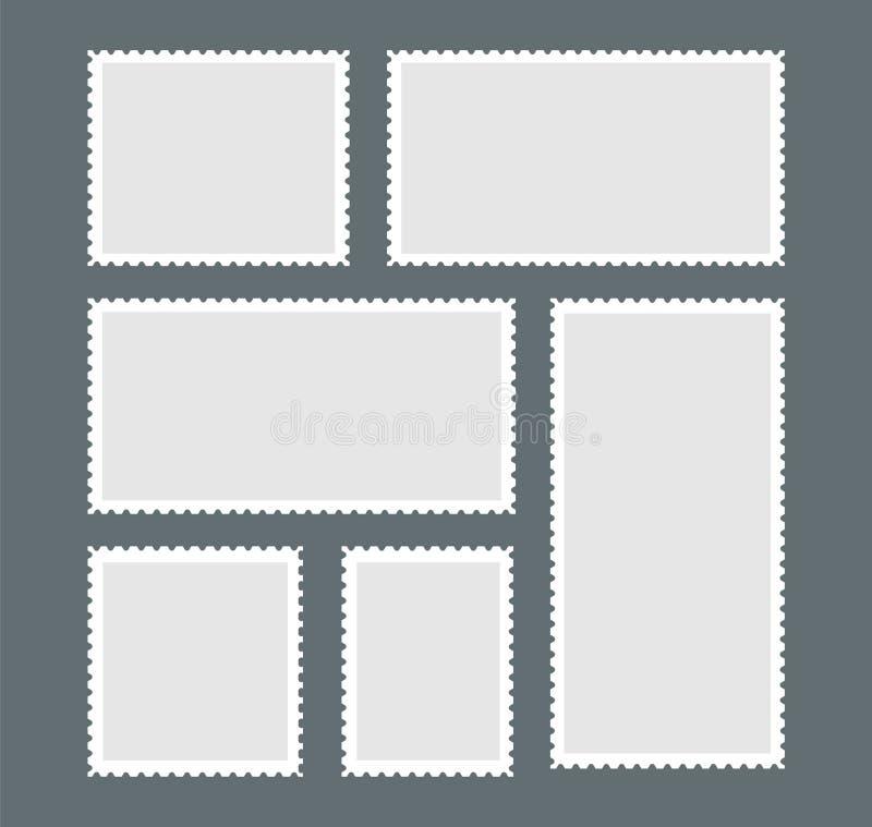 Lege postzegel Een reeks zegels met het witte scherpen op een donkergrijze achtergrond Vector illustratie royalty-vrije illustratie