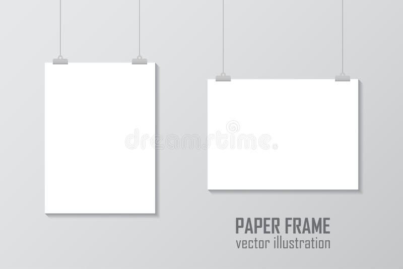 Lege A4 rangschikte het vectordocument kadermodel hangen met paperclip - voorraadvector royalty-vrije illustratie