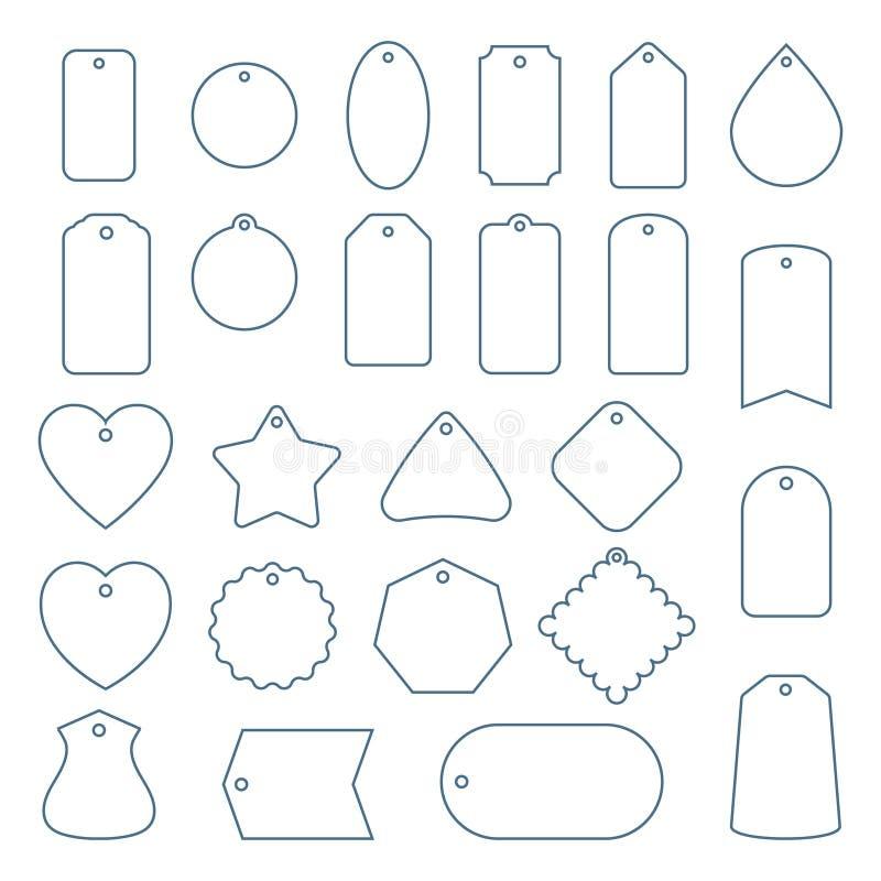 Lege reeks van lijnverkoop of cadeautags Hang markeringen op witte achtergrond worden geïsoleerd die Rechthoekig, sterren en badg vector illustratie