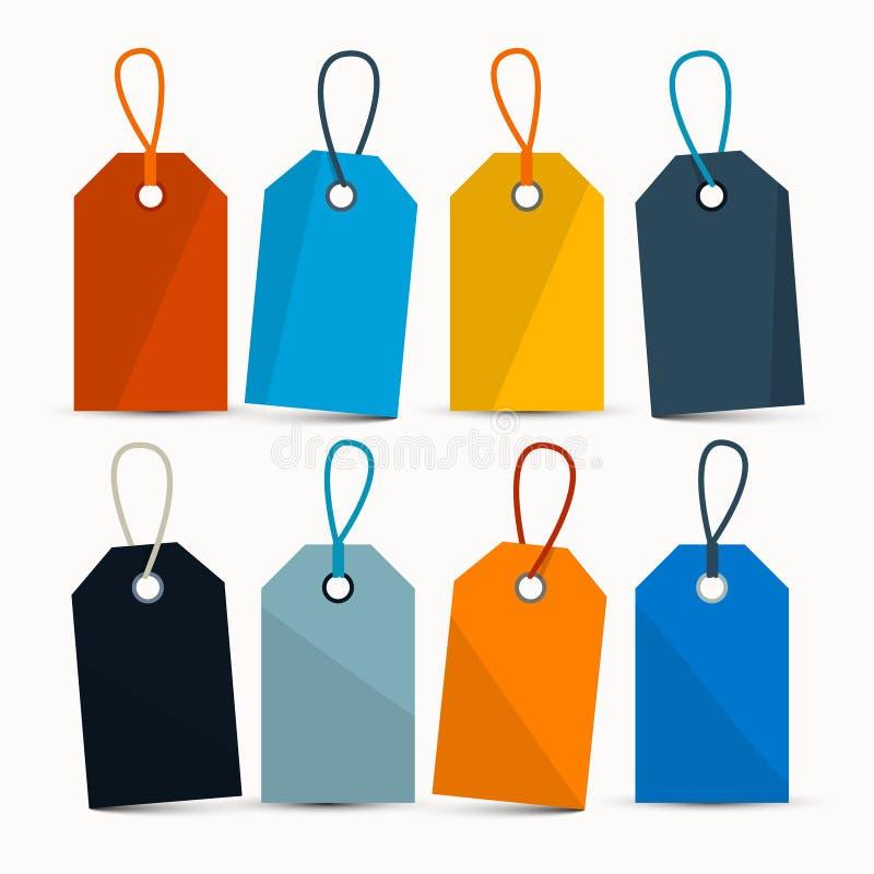Lege Retro Kleurrijke Vectoretiketten met Koorden royalty-vrije illustratie