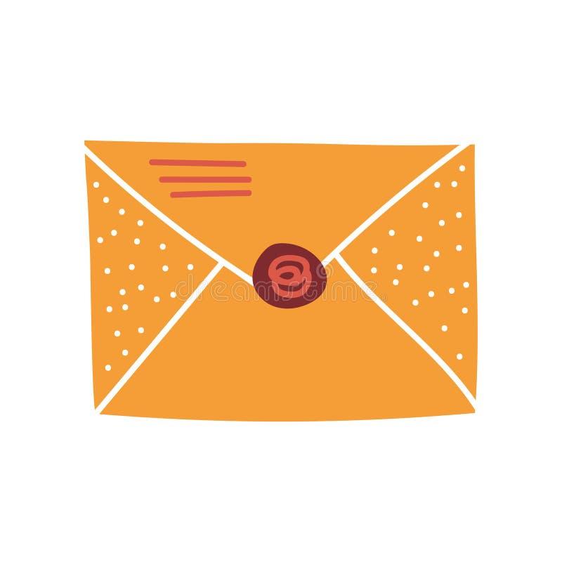 Lege Retro Postenvelop met Verbindings Vectorillustratie stock illustratie