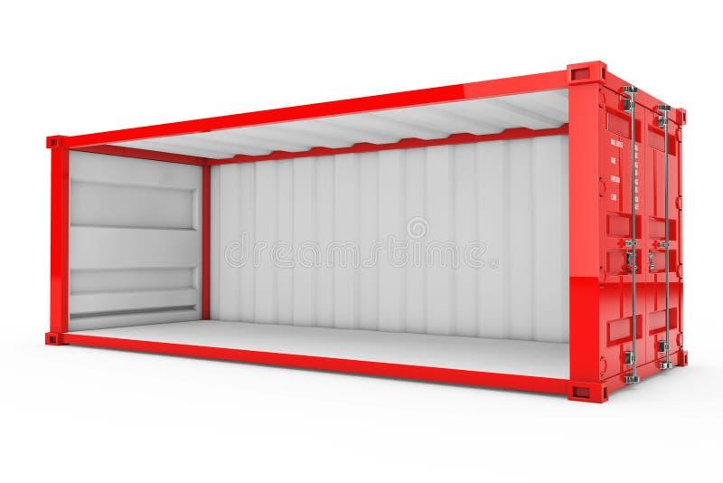 Lege Rode Verschepende Container met Verwijderde Zijgevel 3D renderin stock illustratie