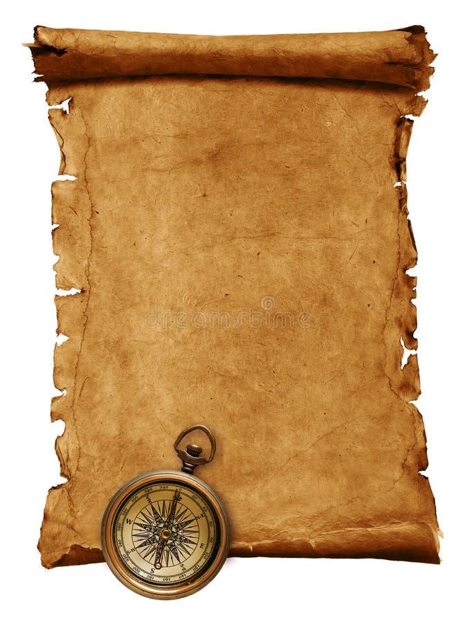 Lege rol met kompas stock fotografie