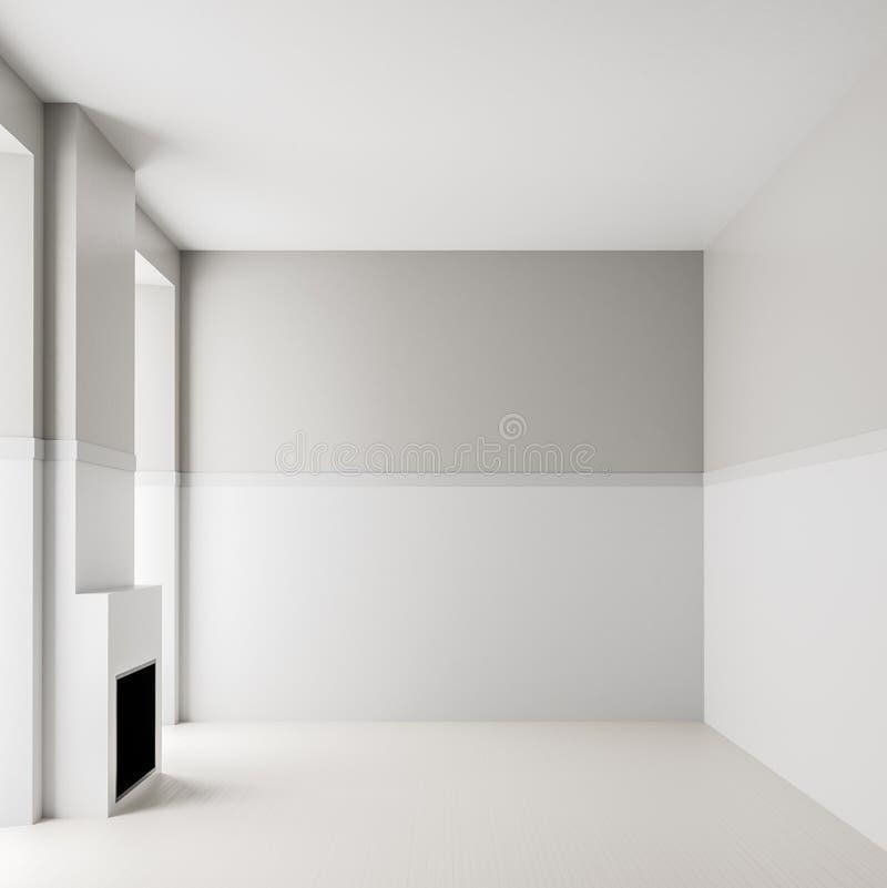Lege ruimte binnenlandse achtergrond met open haard Modern, leeg, helder binnenland met lege witte muren 3D Illustratie stock foto