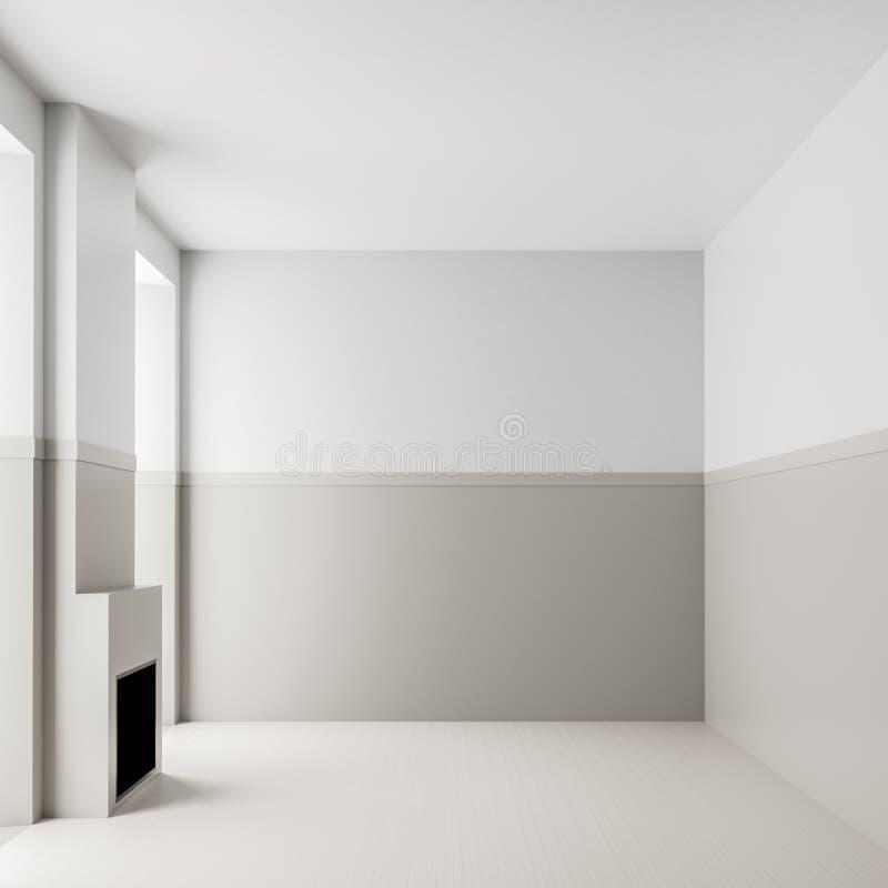 Lege ruimte binnenlandse achtergrond met open haard Modern, leeg, helder binnenland met lege witte muren 3D Illustratie stock afbeeldingen