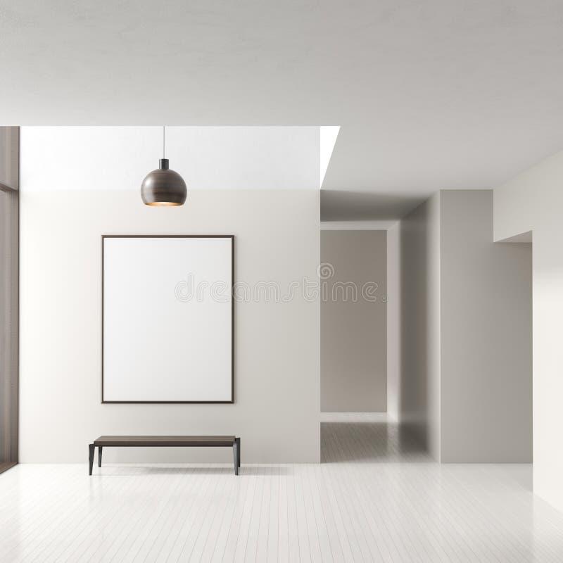 Lege ruimte binnenlandse achtergrond met spot op affichekader Modern leeg helder binnenland 3D Illustratie stock illustratie