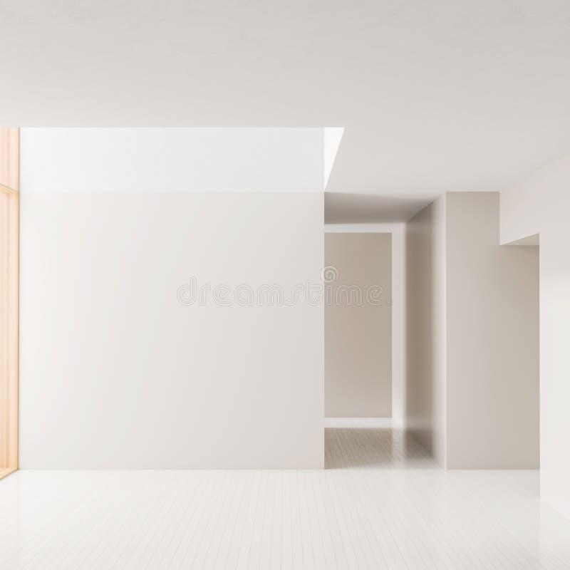 Lege ruimte binnenlandse achtergrond Modern leeg helder binnenland met lege witte muren 3D Illustratie stock illustratie