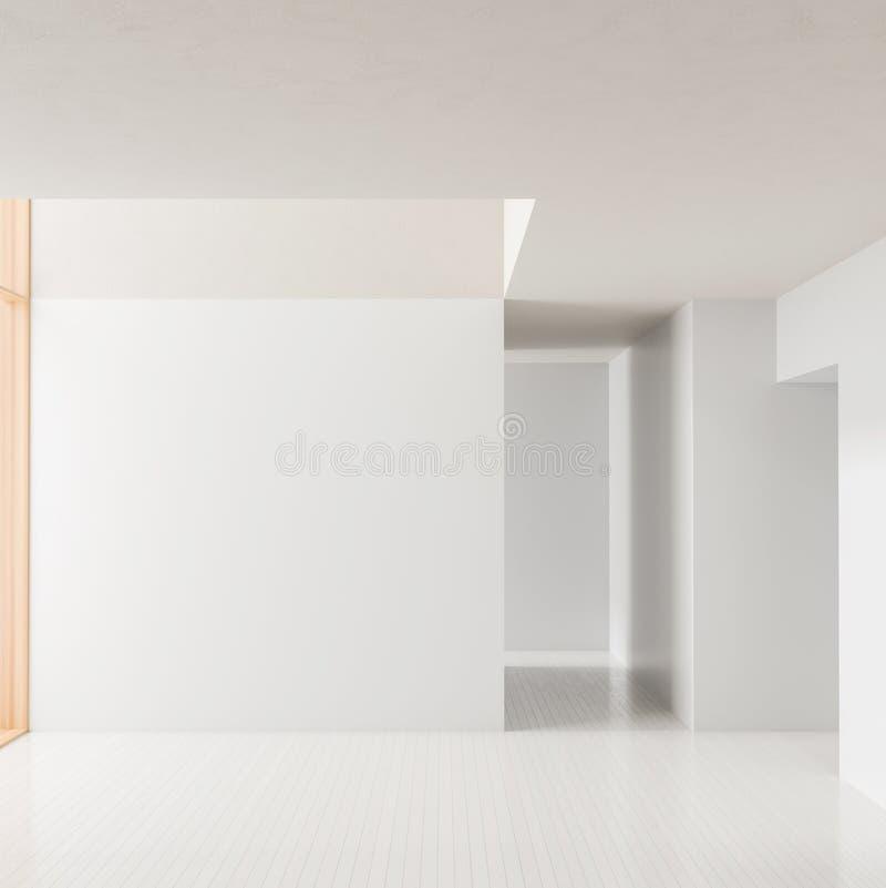 Lege ruimte binnenlandse achtergrond Modern leeg helder binnenland met lege witte muren 3D Illustratie vector illustratie