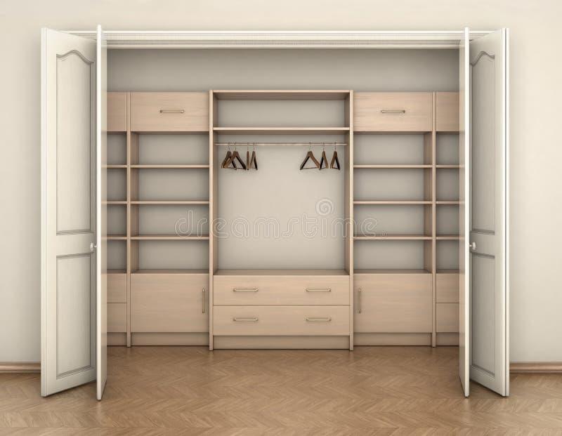 Lege ruimte binnenlandse en grote witte lege kast; stock illustratie